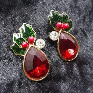 RED CRYSTAL HOLLY CHRISTMAS EARRINGS